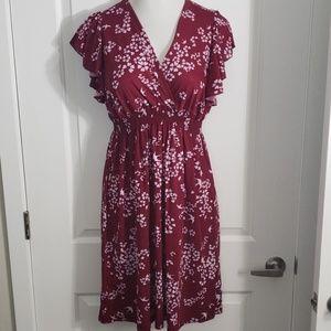 Cap Ruffle Sleeve, Empire Waist Burgundy Dress